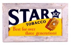 Star Tobacco Sign In Rustic Frame