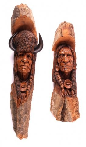 Carved Cottonwood Native American Figures