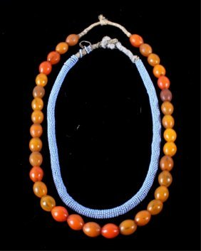 Rope Bead & Amber Glass Trade Bead Necklaces 19th