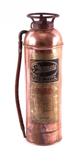 Antique Phomene Copper Fire Extinguisher