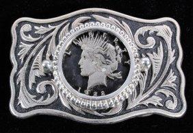 Liberty Peace Dollar 1922 Filigree Belt Buckle