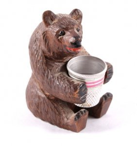 German Carved Black Forest Bear Thimble Holder
