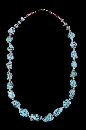 Navajo Turquoise Nugget & Horn Necklace