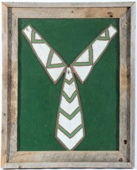 Sioux Early Beaded Necktie & Collar In Frame