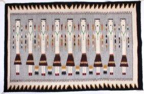 Navajo Yei Pictorial Rug With Teec Nos Pos Border