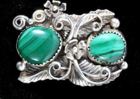 Navajo Sterling Feather Design & Malachite Ring