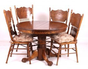Round Oak Claw Foot Table W/ Pressed Back Chairs