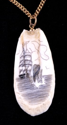 Scrimshaw Walrus Fossil Ivory Necklace