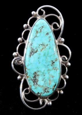 Navajo Filigree Silver & Turquoise Ring C. 1950