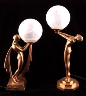 Art Deco Nude Table Lamps Early 1900