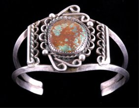 Navajo Sterling And Turquoise Signed Bracelet