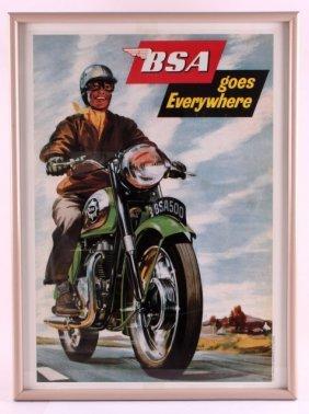 Bsa Motorcycles 1958 Reprint Framed Poster