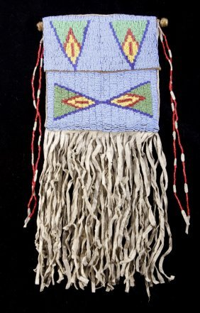 Sioux Beaded & Quilled Flat Bag 19th-20th Century