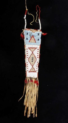 Sioux Beaded Dag Knife Sheath 19th Century