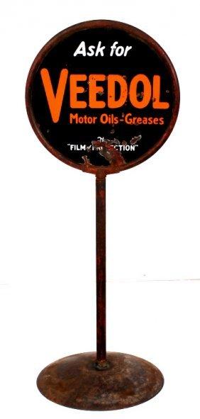 Antique Veedol Motor Oil Porcelain Lollipop Sign