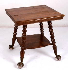 Antique Oak Glass Ball In Claw Feet Parlor Table