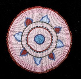 Sioux Beaded Rosette Flat Bag 19th-20th Century