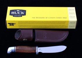 Buck Custom Walnut Ebony Coral Knife & Scabbard