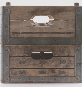 Two Antique Wood And Metal Milk Crates