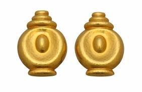 18KY Gold Earrings. Greece