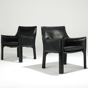 MARIO BELLINI; CASSINA Pair Of Leather Cab Chairs