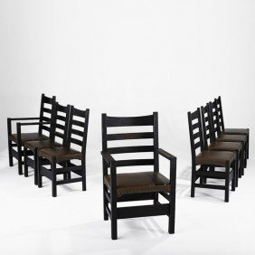 GUSTAV STICKLEY; Eight Dining Chairs
