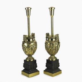 PAIR OF URN LAMPS