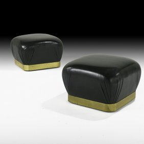 KARL SPRINGER Pair Of Leather & Bronze Poofs