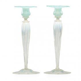Tiffany Studios Pair Of Pastel Candlesticks