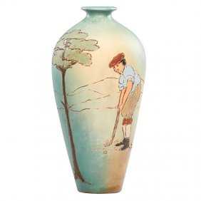 Weller Dickensware Ii Vase With Golfer