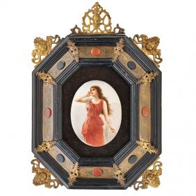 Kpm Two Small Oval Porcelain Plaques