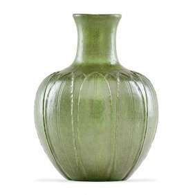 Grueby Large Vase With Leaves