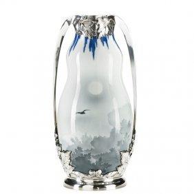 Royal Copenhagen Large Vase With Silver Overlay