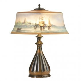 Pairpoint Table Lamp, New Bedford Scene