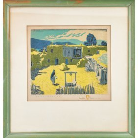 Gustave Baumann Color Woodblock Print