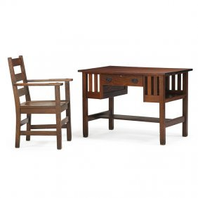 Gustav And Charles Stickley Library Table, Chair