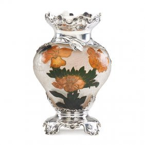 Daum Silver-mounted Cameo Glass Vase