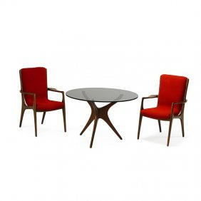 Vladimir Kagan Pair Of Chairs And Game Table