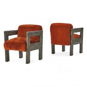 Paul Evans Pair Of Sculptured Metal Armchairs