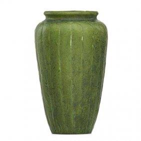 Grueby Vase With Stylized Leaves