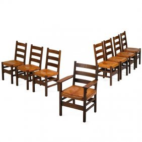 Gustav Stickley Eight Dining Chairs