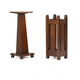 Stickley Brothers Pedestal And Umbrella Stand