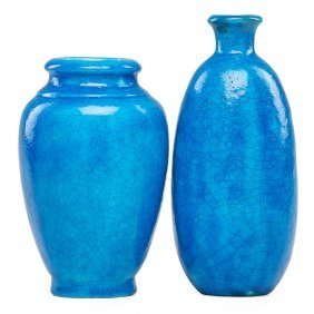 Edmond Lachenal Two Egyptian Blue Vases
