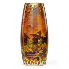 Zsolnay Fine Large Landscape Vase