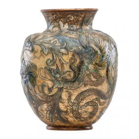 Martin Brothers Large Vase With Dragons