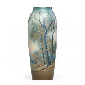 Ed Diers; Rookwood Tall Scenic Vellum Vase