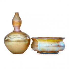 Tiffany Studios Favrile Glass Vase And Bowl