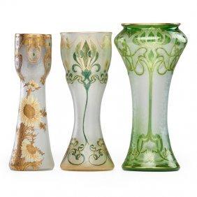 Honesdale Etc. Three Enameled Glass Vases