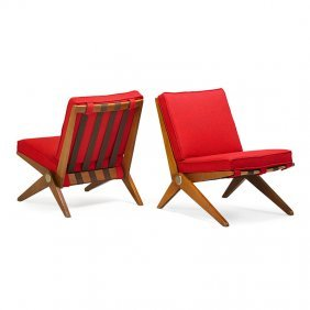 Pierre Jeanneret; Knoll Pair Of Scissor Chairs