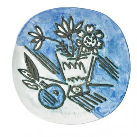 """Pablo Picasso; Madoura Plate, """"bunch With Apple"""""""